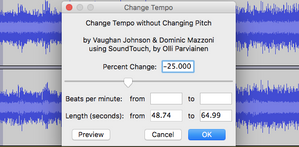 Audacity - changing the speed of a piece of music.