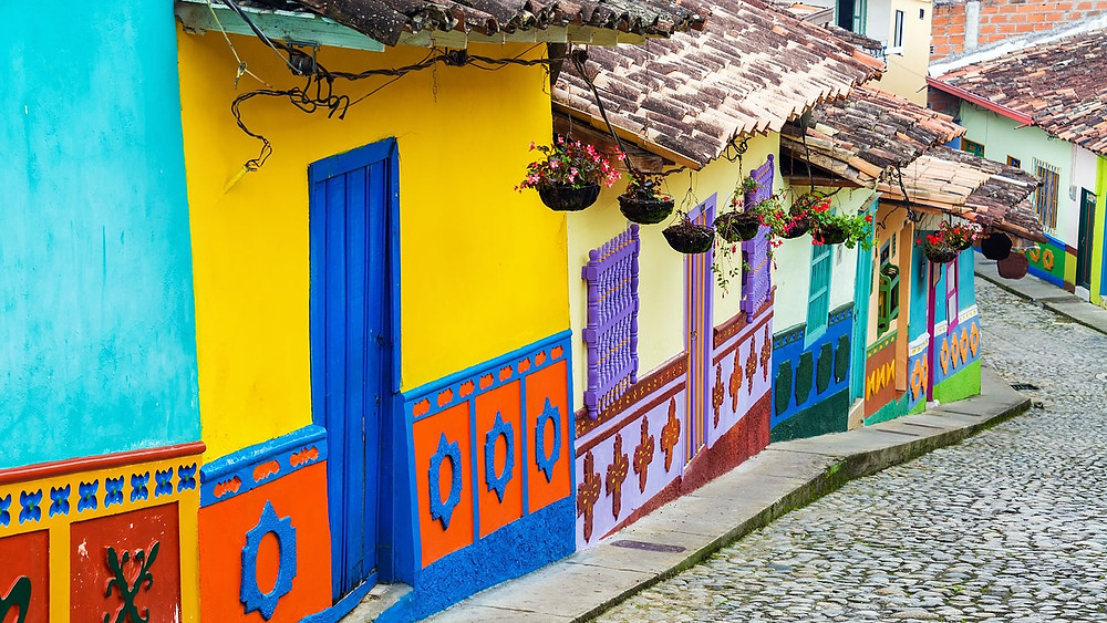 Bright homes in La Candelaria, Bogota, Colombia