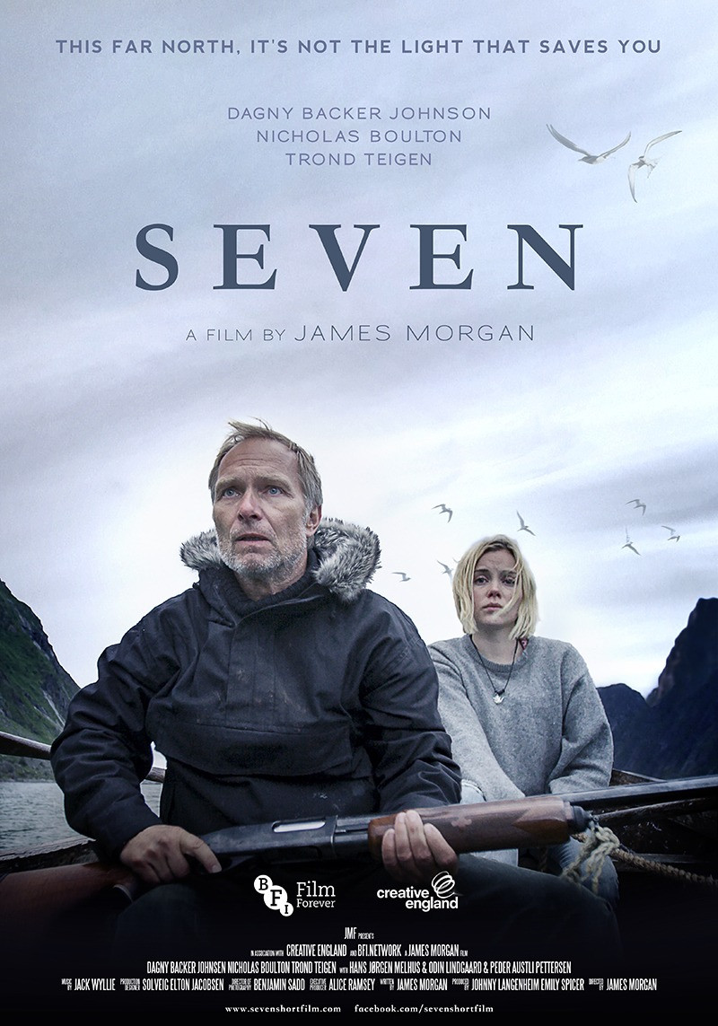Seven movie poster. Showing Trond Teigen and Dagny Johnsen who are sat in a boat. Teigen is armed.