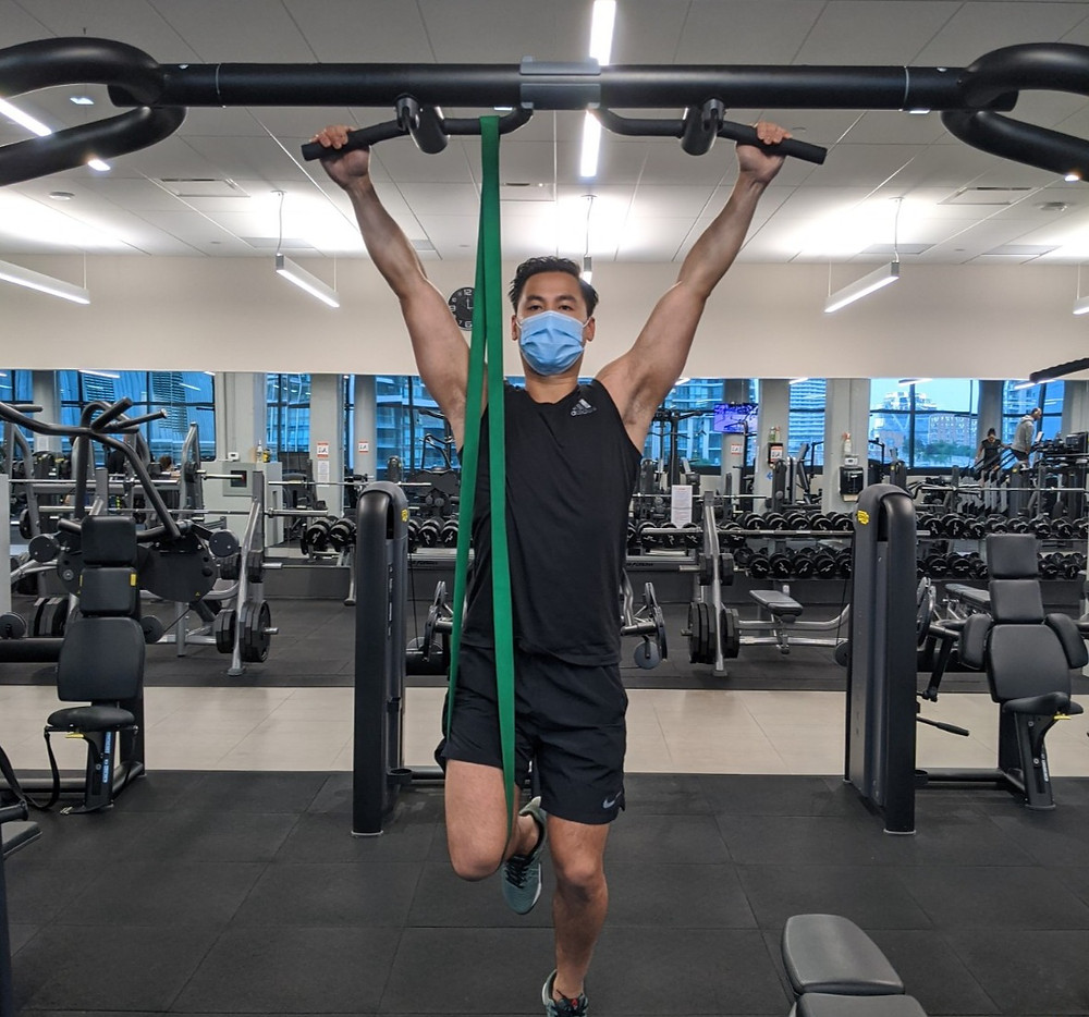 Unload your weight during a pull up by using a resistance band