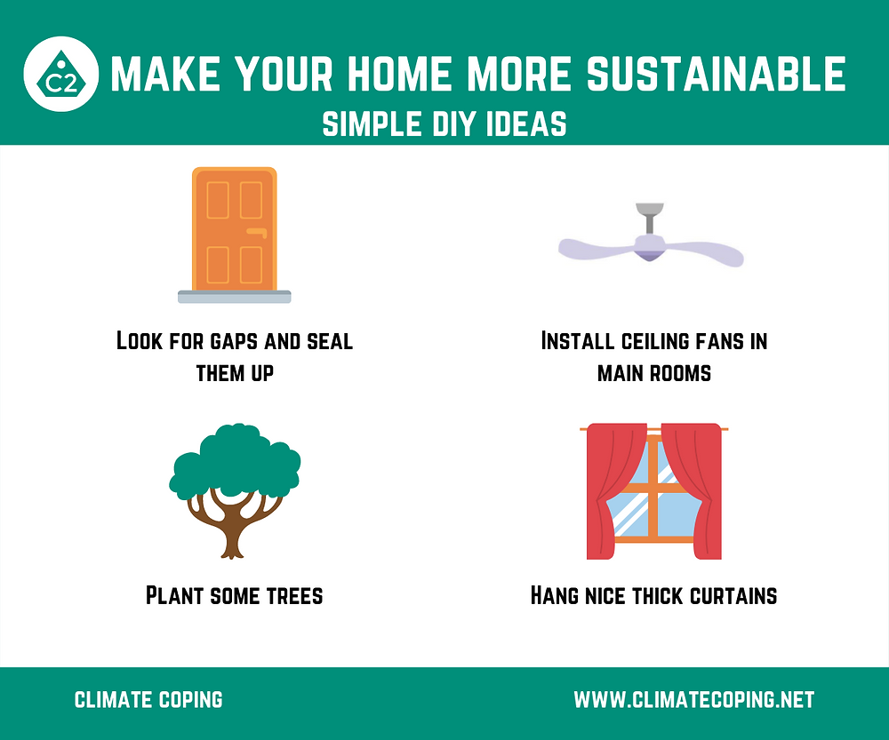 Sustainable DIY projects that will save you more money than they cost, by Climate Coping. Infographic sustainable home improvement to fight carbon emissions and global warming.