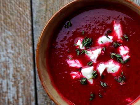 Beetroot, chilli & sweet potato soup