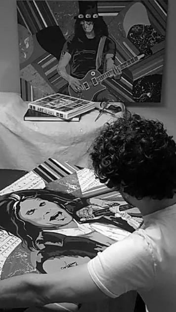 Al Gord in his studio - Twitter Art Exhibit