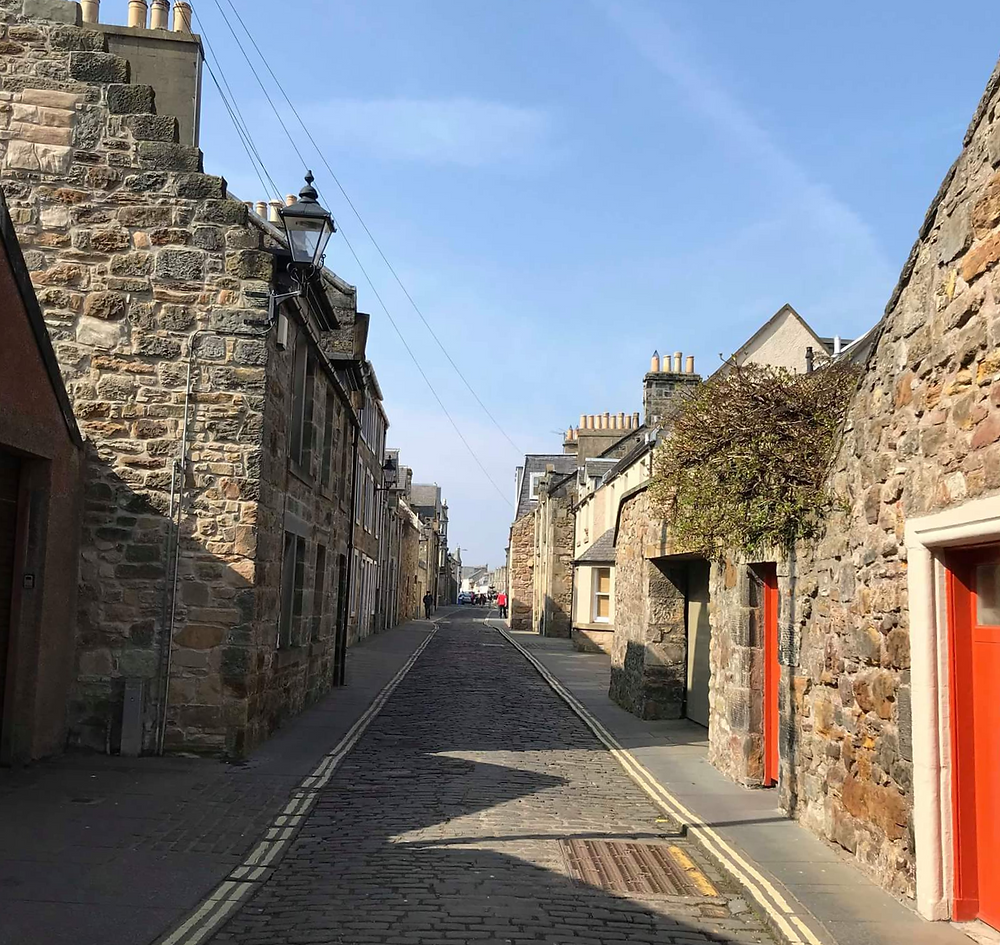 Cobbled street in St Andrews, Scotland