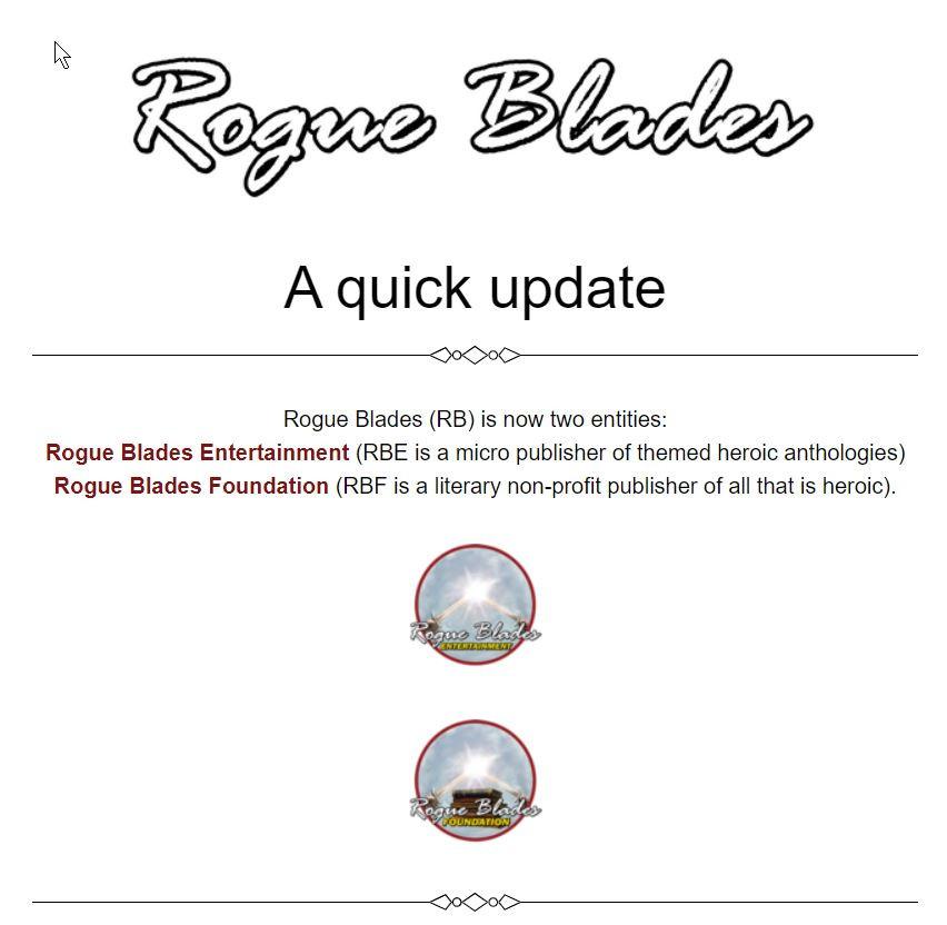 Rogue Blades' newsletter header