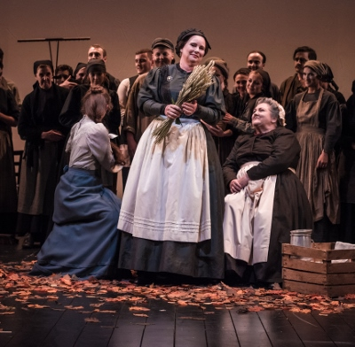 Madame Larina (Gaynor Keeble) and Ceri Willams (Filipyevena)  in Buxton International Festival's production of Tchaikovsky's Eugene Onegin c. Genevieve Girling