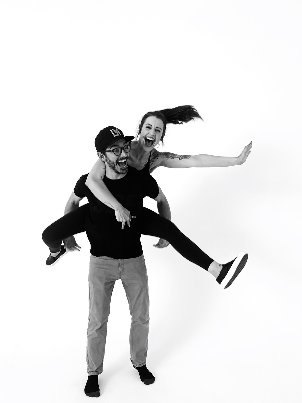 Woman on a man's back