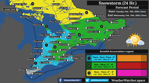 Snowfall Forecast, for Southern Ontario. Issued February 17th, 2020.