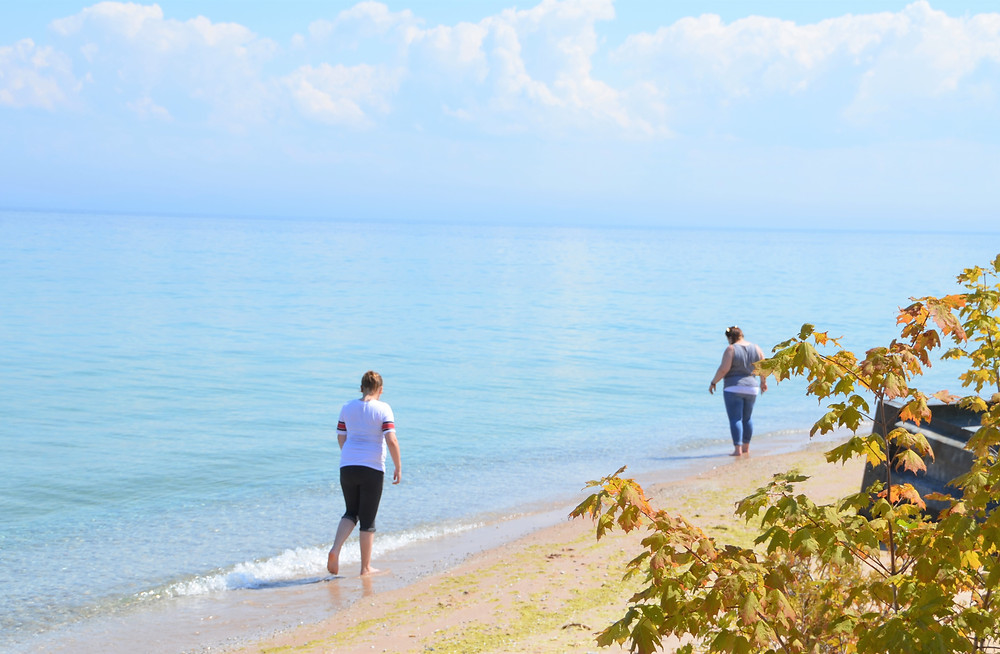 Searching for Petoskey stones along the shore