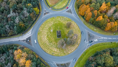UK roundabout from above