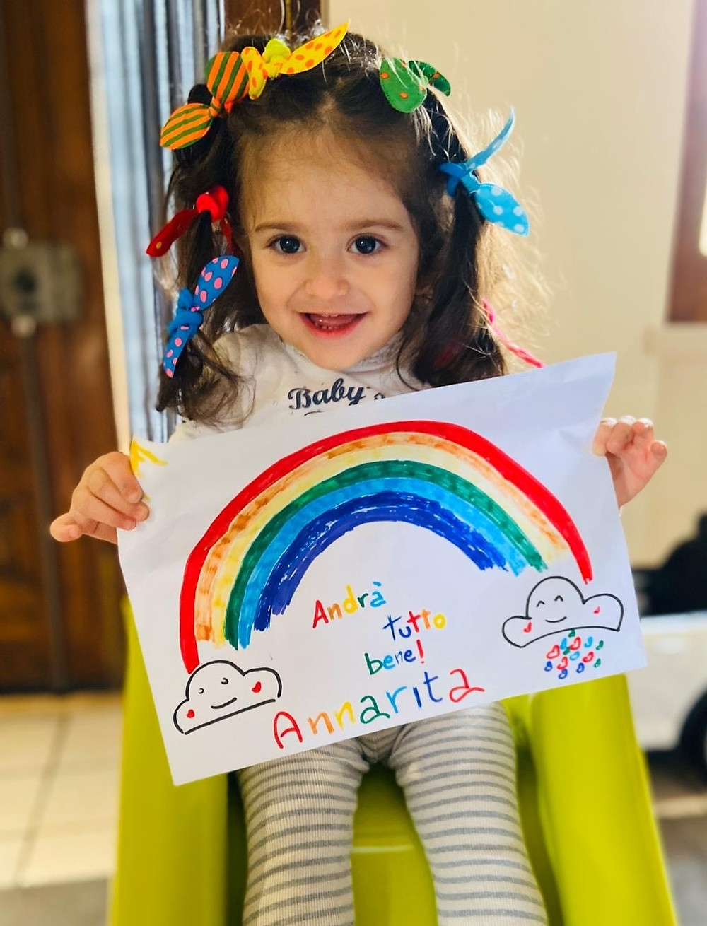 Kids across Italy are making signs to say, everything is going to be okay. Here's one of my favorite nuggets in Gesualdo, Annarita, telling you to stay positive. How can you argue with her?
