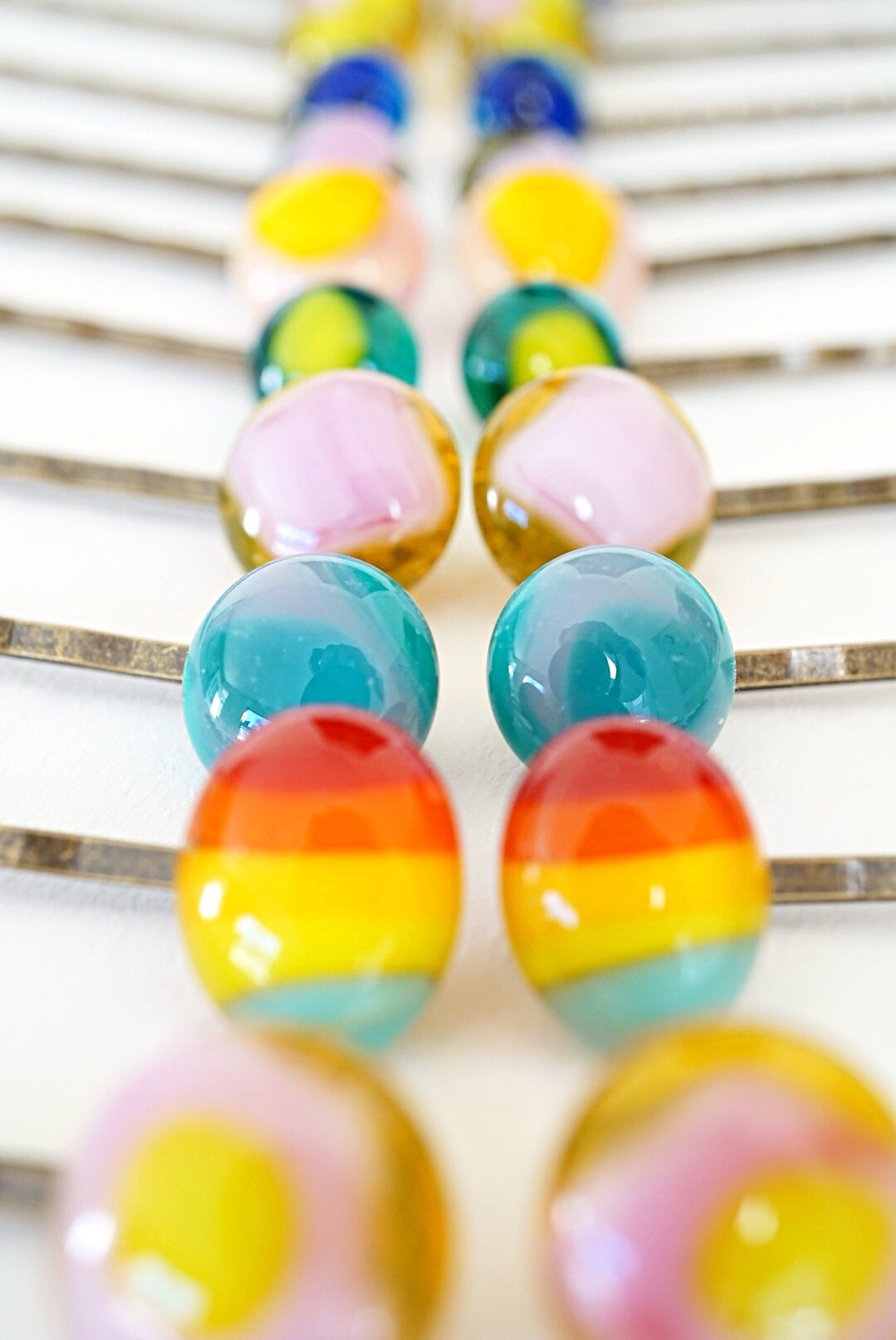 Fused Glass Hairpins by Laura Koss