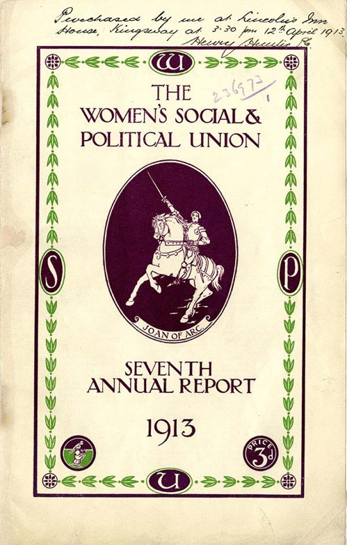 A copy of the Seventh Annual report of the WSPU, 1913. The National Archives, catalogue reference: HO 45/10700/236973