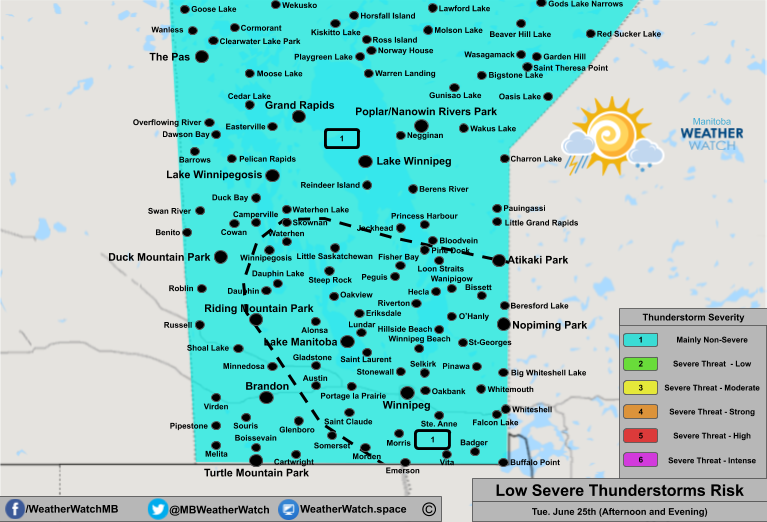 Thunderstorm Forecast, for Southern Manitoba. Issued June 25th, 2019.