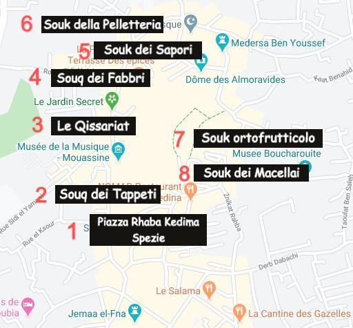Itinerario Souk di Marrakech con Google Maps