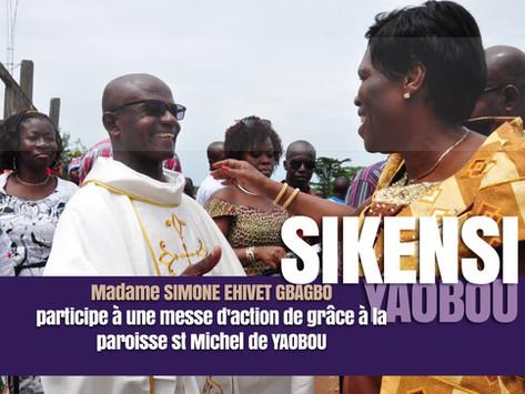SIMONE EHIVET GBAGBO PARTICIPE A UNE MESSE D'ACTION DE GRÂCE A LA PAROISSE St MICHEL DE YAOBOU