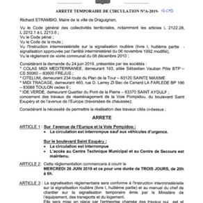 ARRETE TEMPORAIRE DE CIRCULATION A2019-909