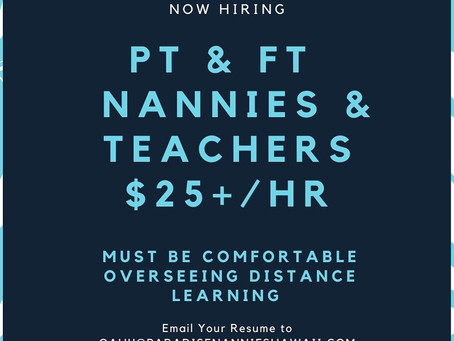 Now hiring: nannies and teachers for the upcoming school year!