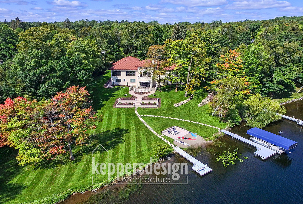 Mediterranean Style Estate Lake Home with Boat Docks on  Minnesota Lake