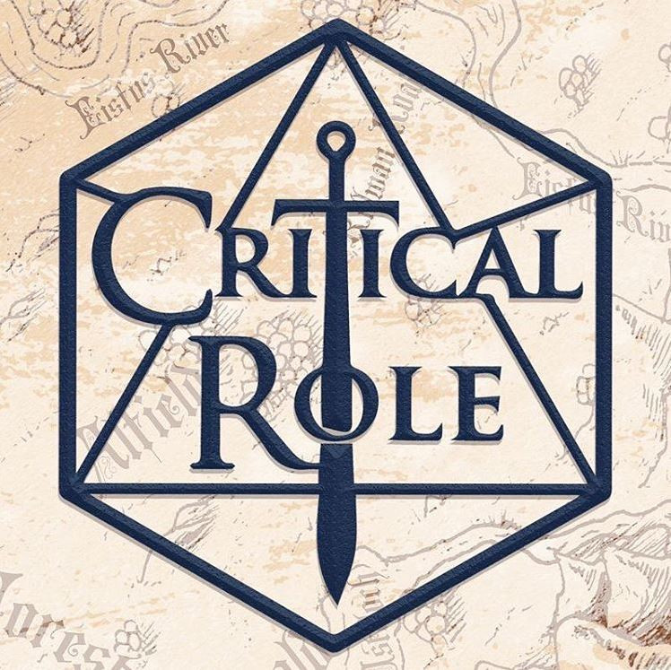 Critical Role logo on a faded map background - a d20 outline with text Critical Role over it. The T in critical is the hilt of a sword, extending the blade down to pass through the O in role.