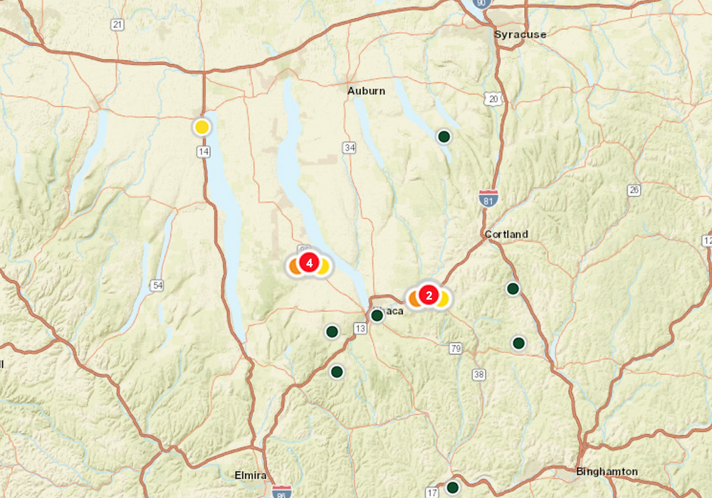 NYSEG Outage Map, which shows Ithaca as being a currently heavily affected area.