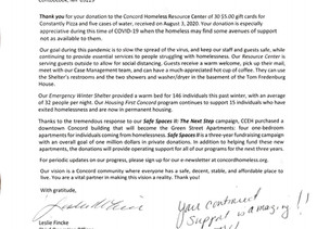 Thank you letter from Coalition to End Homelessness