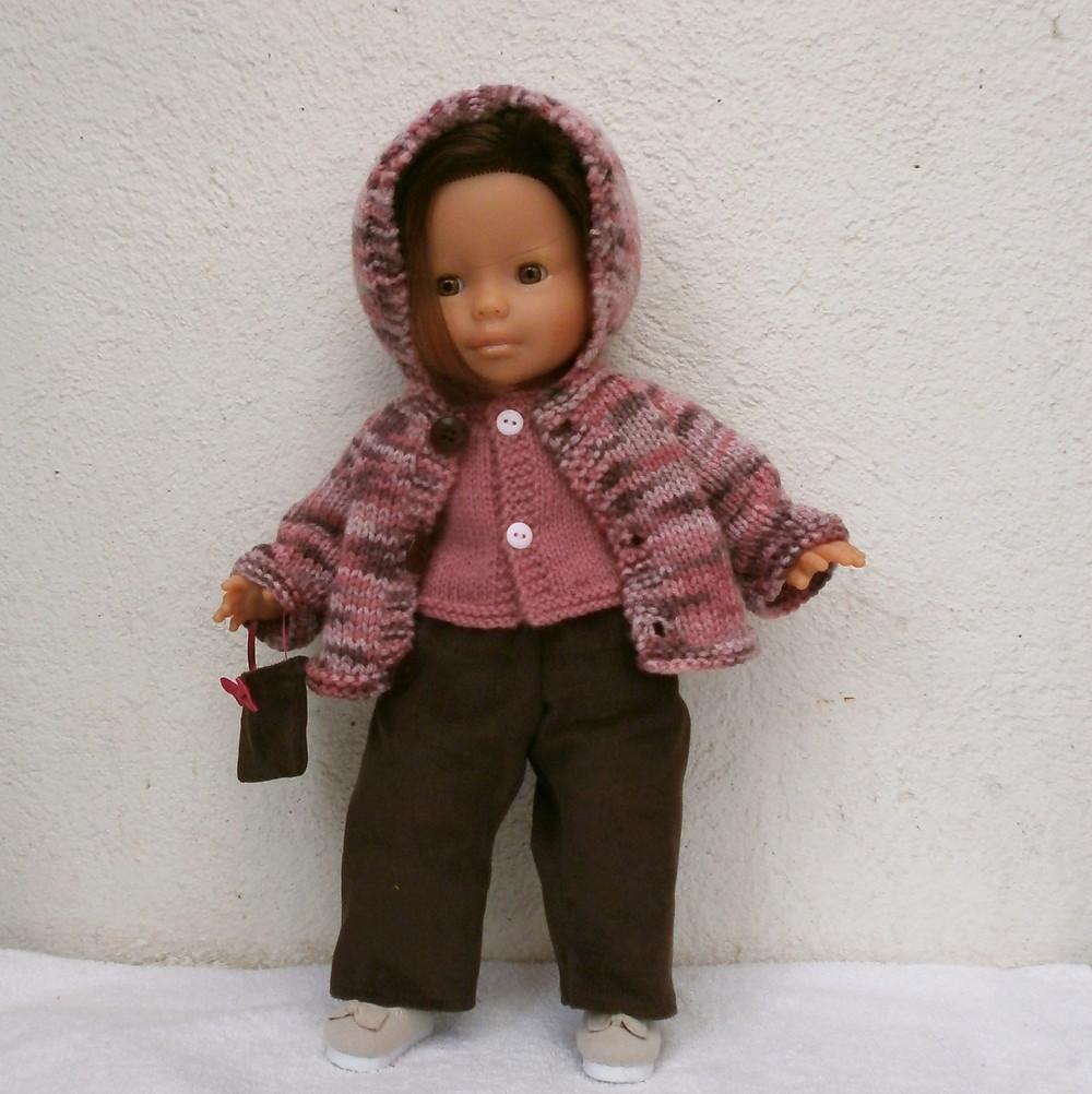 Ensemble rose et marron pour poupée de 36 cm