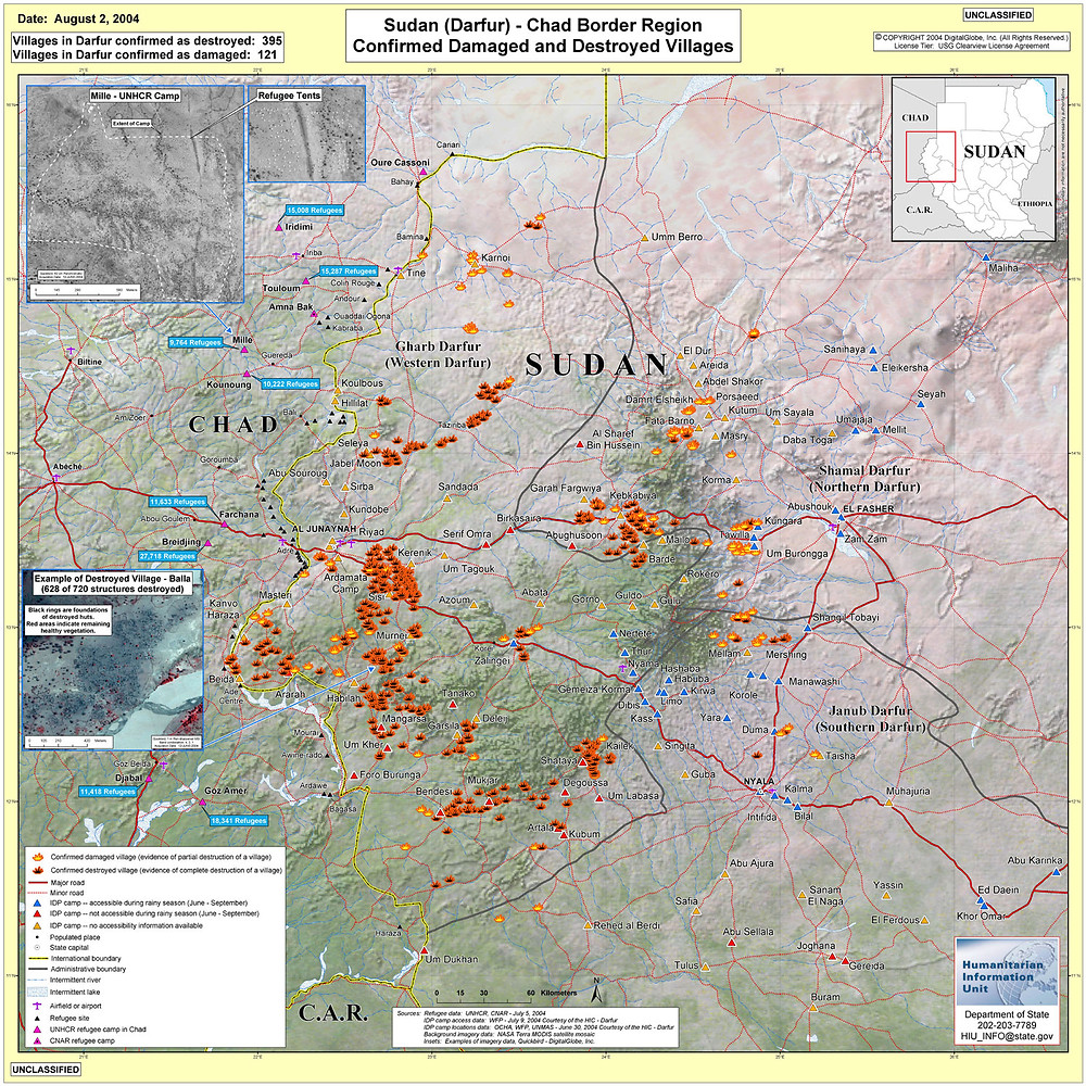 confirmed damaged and destroyed villages in Darfur Sudan
