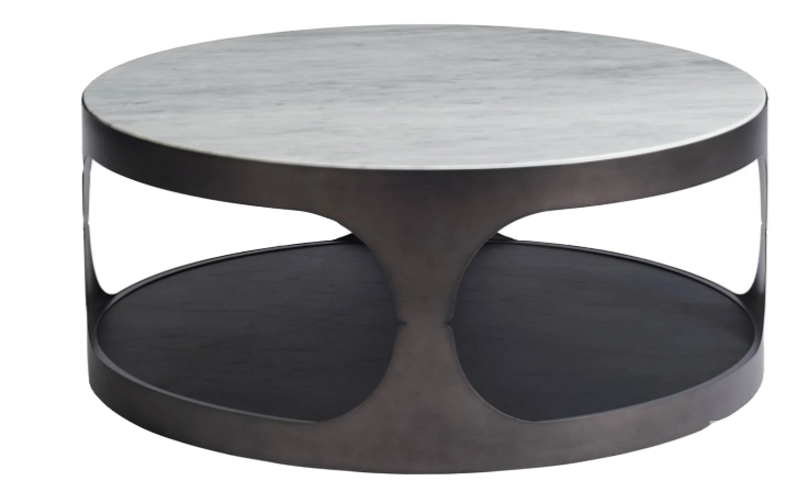Round Cocktail Table, Faux leather bottom shelf, good for storage by Universal Furniture