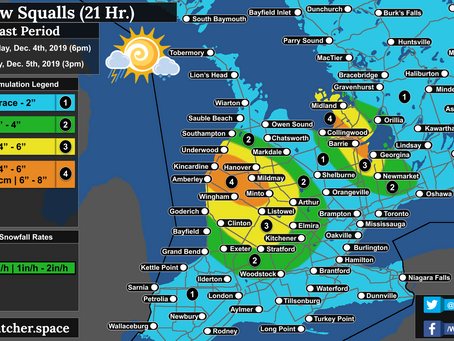 Moderate Snow Squalls Across Portions of the Southern Ontario Snowbelt