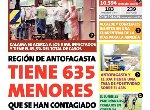 TITULARES DE LOS PRINCIPALES DIARIOS DE LA REGIÓN DE ANTOFAGASTA