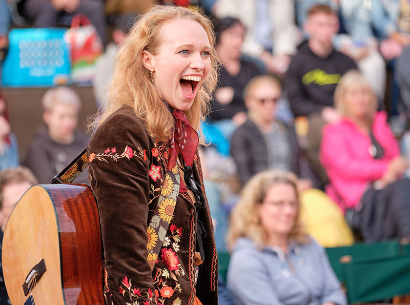 Jessica Dives as Feste in Twelfth Night, Grosvenor Park Open Air Theatre, Chester, July 2019