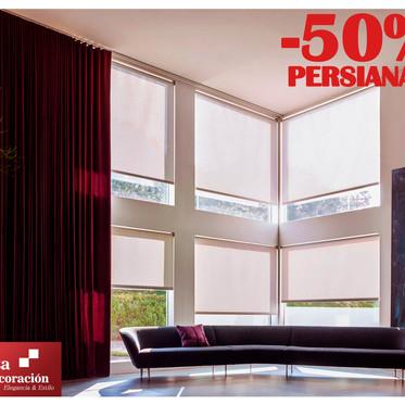 ¡¡Aprovecha aún tenemos el 50% de Descuento en Persianas hasta terminar el mes!!