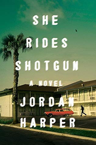 this book cover shows a washed-out photo of an old red station wagon parked in front of a roadside motel