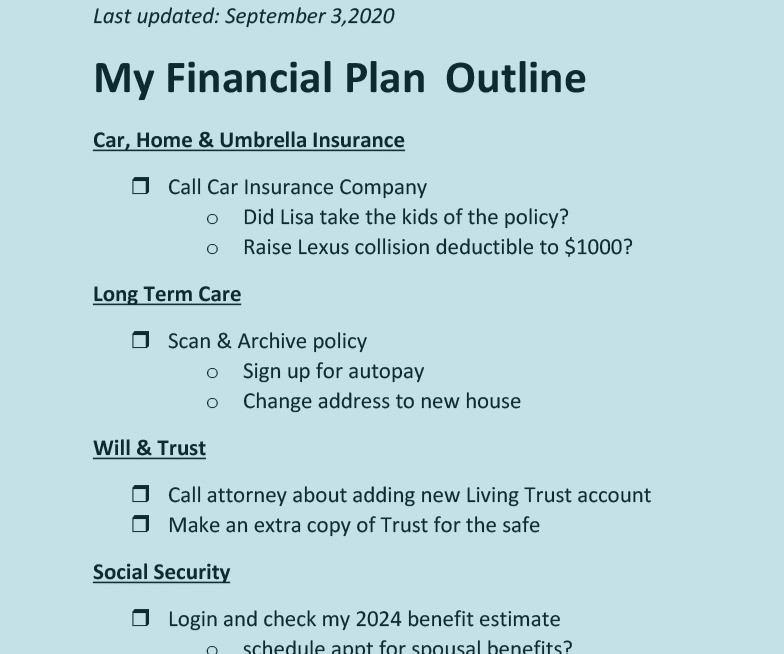 Example of Advice Only Financial Planning Outline