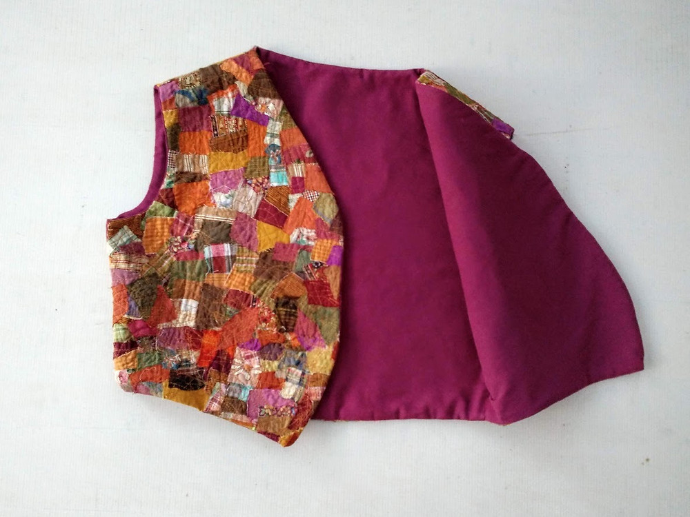 The fabric used is upcycled or recreated from remnants.