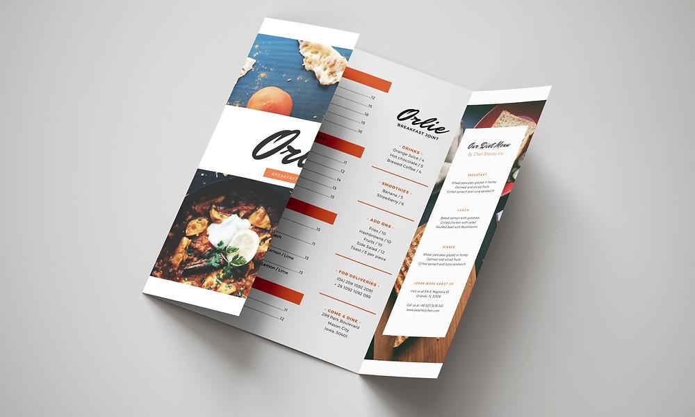 A gate fold menu