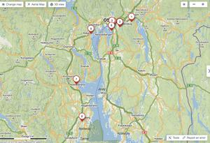 Карта окрестностей Осло-фьорда
