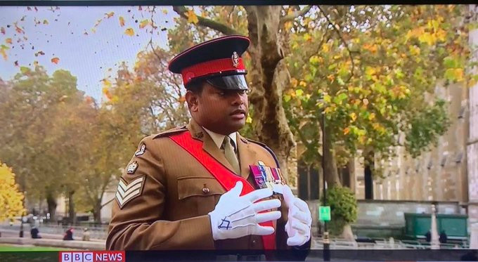 Brother Colour Sergeant Johnson Beharry VC, being interviewed on the BBC today for Armistice Day