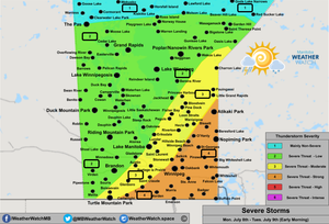 Thunderstorm Forecast, for Southern Manitoba. Issued July 8th, 2019.