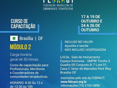 FEBRACT organiza cursos de capacitação para as Comunidades Terapêuticas em Brasília