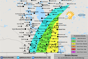 Thunderstorm Forecast, for Southern Manitoba. Issued June 8th, 2019.