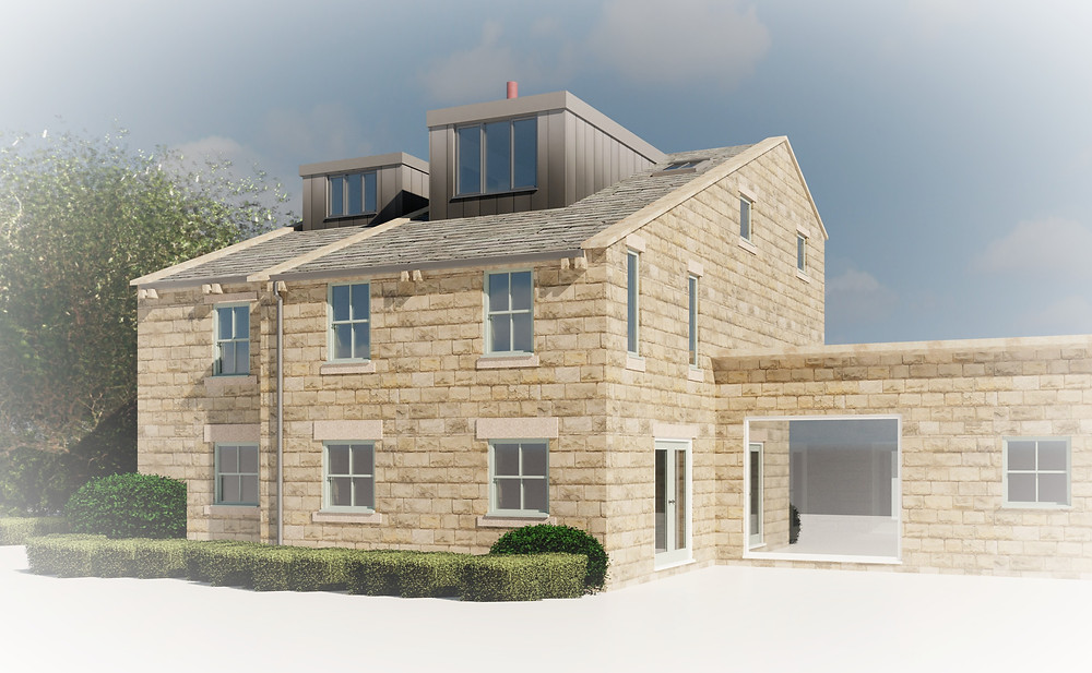 Contemporary Dormers, Zinc cladding, Farmhouse, Leeds