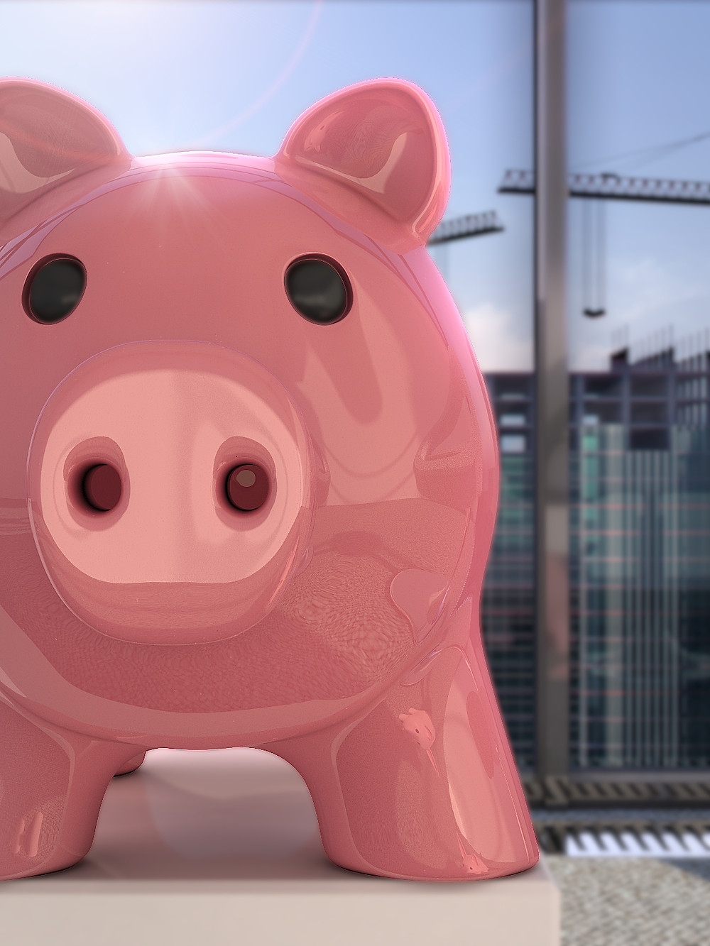 Photorealistic marketing 3D Rendering with the money pig interested in your proposal
