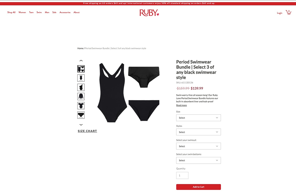 Period swimwear by Ruby Love