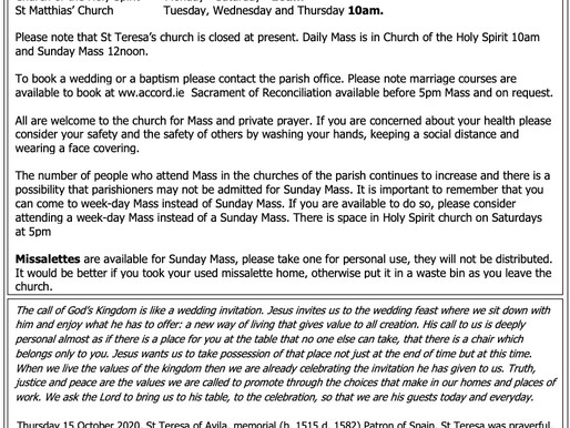 The St Teresa's Parish Bulletin for Sunday, 11th October 2020