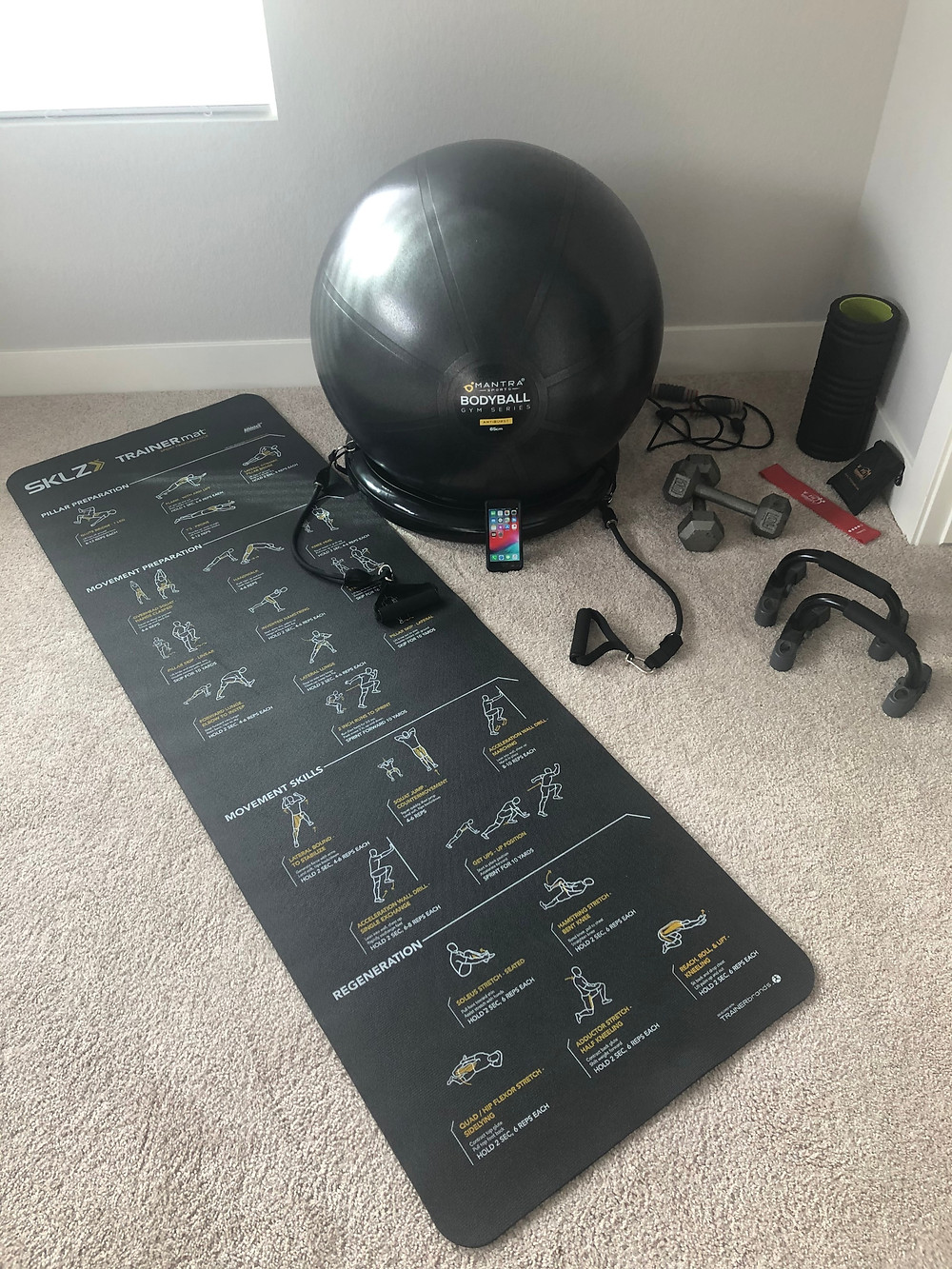 Photo shows fitness ball, exercise mat, and various weights in a corner of the writer's living room