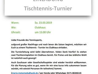 Einladung zum Tischtennis - Turnier 2019