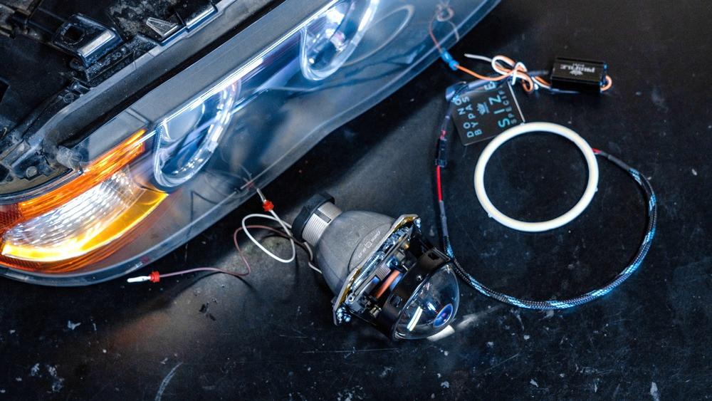 BMW X5 Headlight Retrofit with profile prism halos at mdrn retrofits