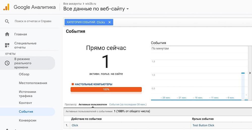 Передача события клик по кнопки с сайта на Wix в аналитику Google
